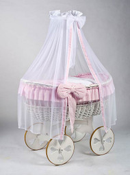 MJ Mark Ophelia Due - Pink - Heart Wheels - Wicker Crib