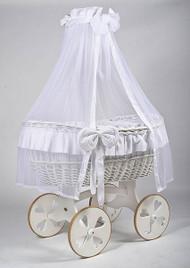MJ Mark Ophelia Due - White - Heart Wheels - Wicker Crib