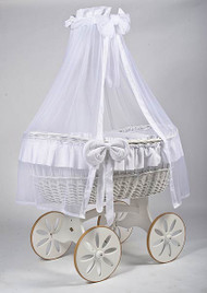 MJ Mark Ophelia Due - White - Spoke Wheels - Wicker Crib