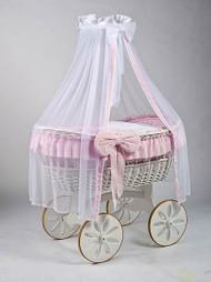 MJ Mark Ophelia Due - Pink - Spoke Wheels - Wicker Crib