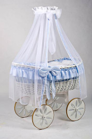 MJ Mark Ophelia Due - Blue - Spoke Wheels - Wicker Crib