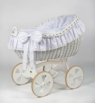 MJ Mark Bianca Due - Antique White - Heart Wheels - Wicker Crib