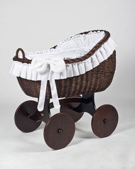 MJ Mark Bianca Tre - White - Solid Wheels - Wicker Crib