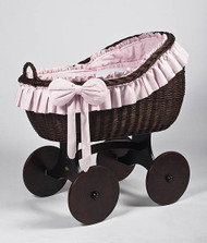 MJ Mark Bianca Tre - Pink - Solid Wheels - Wicker Crib