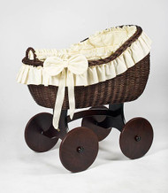 MJ Mark Bianca Tre - Ivory - Solid Wheels - Wicker Crib