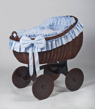 MJ Mark Bianca Tre - Blue - Solid Wheels - Wicker Crib