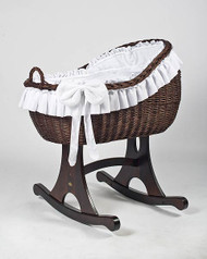 MJ Mark Bianca Tre - White - Rocker - Wicker Crib