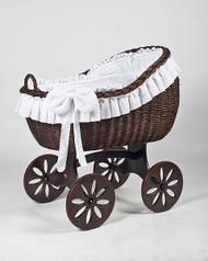 MJ Mark Bianca Tre - White - Spoke Wheels - Wicker Crib
