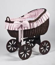 MJ Mark Bianca Tre - Pink - Spoke Wheels - Wicker Crib