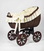 MJ Mark Bianca Tre - Ivory - Spoke Wheels - Wicker Crib