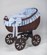 MJ Mark Bianca Tre - Blue - Spoke Wheels - Wicker Crib