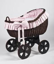 MJ Mark Bianca Tre - Pink - Heart Wheels - Wicker Crib