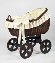 MJ Mark Bianca Tre - Ivory - Heart Wheels - Wicker Crib