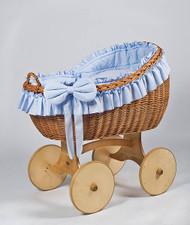 MJ Mark Bianca Uno - Blue - Solid Wheels - Wicker Crib