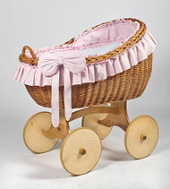 MJ Mark Bianca Uno - Pink - Solid Wheels - Wicker Crib