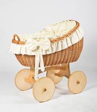 MJ Mark Bianca Uno - Ivory - Solid Wheels - Wicker Crib