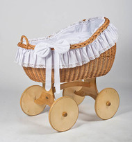 MJ Mark Bianca Uno - Antique White - Solid Wheels - Wicker Crib