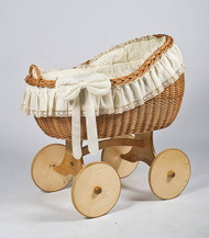 MJ Mark Bianca Uno - Antique Cream - Solid Wheels - Wicker Crib
