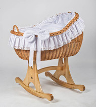 MJ Mark Bianca Uno - Antique White - Rocker - Wicker Crib
