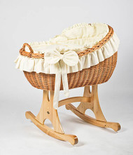 MJ Mark Bianca Uno - Ivory - Rocker - Wicker Crib