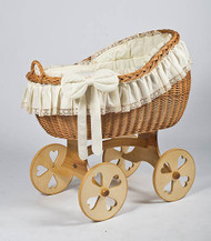 MJ Mark Bianca Uno - Antique Cream - Heart Wheels - Wicker Crib