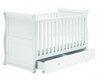 East Coast Alaska Sleigh Cot Bed With Drawer - White