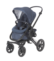 Maxi-Cosi Nova Pushchair + Maxi-Cosi Oria Carrycot + Maxi-Cosi Pebble Plus Car Seat - Nomad Blue 4 wheel