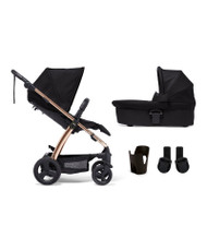 Mamas & Papas Sola2 4 Piece Bundle Including Footmuff -  Black/Rose Gold