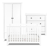 Silver Cross Nostalgia Pure White - 3 Piece Furniture Set With Free Classic Mattress