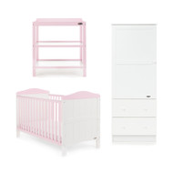 Obaby Whitby 3 Piece Room Set - White With Eton Mess