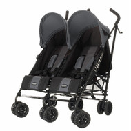 Obaby Apollo Twin Stroller - Black/Grey With Grey Hoods