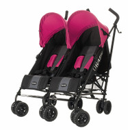 Obaby Apollo Twin Stroller - Black/Grey With Pink Hoods