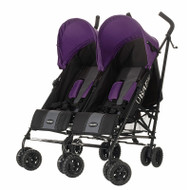 Obaby Apollo Twin Stroller - Black/Grey With Purple Hoods