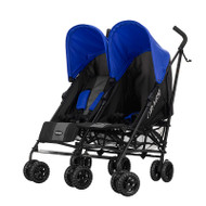 Obaby Apollo Twin Stroller - Black/Grey With Blue Hoods