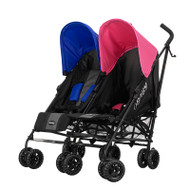 Obaby Apollo Twin Stroller - Black/Grey With Blue/Pink Hoods