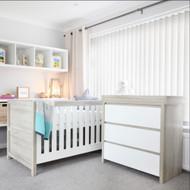 Modena 2 Piece Room Set  (Cot Bed & Changer)  - White/Oak