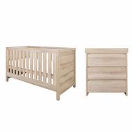 Modena 2 Piece Room Set  (Cot Bed & Changer)  - Oak