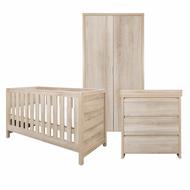 Modena 3 Piece Room Set (Cot Bed, Changer, Wardrobe) - Oak