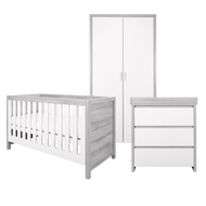 Modena 3 Piece Room Set (Cot Bed, Changer, Wardrobe) - White/Grey