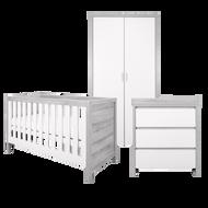 Modena 3 Piece Room Set (Cot Bed, Changer, Wardrobe) - White/Grey