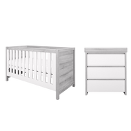 Modena 2 Piece Room Set  (Cot Bed & Changer) - White/Grey