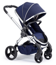 iCandy Peach Chrome Pushchair - Indigo With Changing Bag, Duo-Pod and Ride on Board