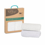 Tutti Bambini CoZee Fitted Sheets (2 Pack) - Grey / Cloud