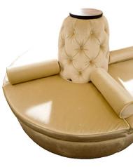 Beige Microfiber Blend Wood Round Settee Sofa