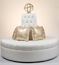 """Large 66"""" Diameter Diamond Tufted Round Circle Settee Sofa in White Soft Faux Leather"""
