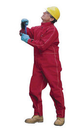 Ansell 66-667-2XT 2X Tall Red Sawyer-Tower CPC Polyester Trilaminate Gore Chemical Protection Coveralls