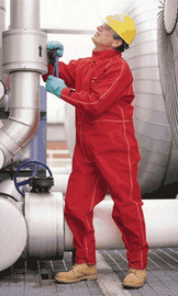 Ansell 66-667-LT Large Tall Red Sawyer-Tower CPC Polyester Trilaminate Gore Chemical Protection Coveralls