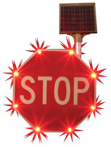 Accuform FRW106 Blinking Traffic Stop Sign Solar Powered