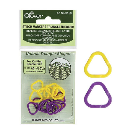 These stitch markers have a unique triangle shape that sets the perfect eyelet for inserting the needle in the marker as you pass it from one needle to another. Medium size for knitting needle sizes 9-10.5. 2 colors (8 each), 16 pcs./pack