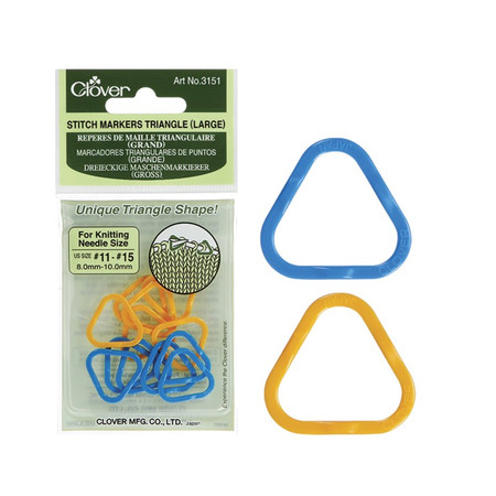 These stitch markers have a unique triangle shape that sets the perfect eyelet for inserting the needle in the marker as you pass it from one needle to another. Large size for knitting needle sizes 11-15. 2 colors (8 each), 16 pcs./pack